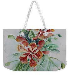 Red Flamboyant Flowers Still Life In Watercolor  Weekender Tote Bag