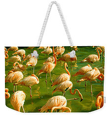Red Florida Flamingos In Green Water Weekender Tote Bag