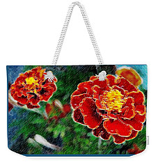 Weekender Tote Bag featuring the photograph Red Flower In Autumn by Joan  Minchak