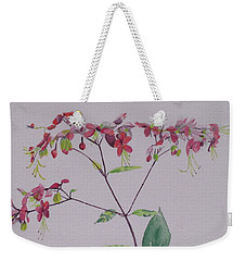 Red Flower Vine Weekender Tote Bag by Hilda and Jose Garrancho