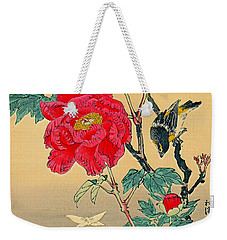 Red Flower With Bird 1870 Weekender Tote Bag by Padre Art