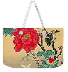 Red Flower With Bird 1870 Weekender Tote Bag