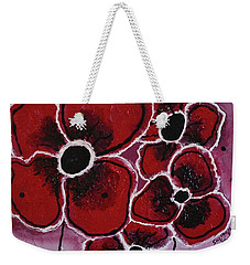 Red Flowers Abstract Art Weekender Tote Bag