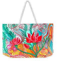 Weekender Tote Bag featuring the painting Red Flowers by Adria Trail