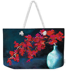 Weekender Tote Bag featuring the painting Red Flowers by Frances Marino