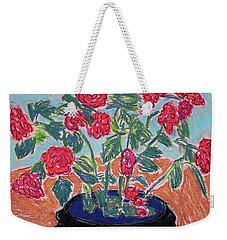 Red Flowers In Black Pot Weekender Tote Bag
