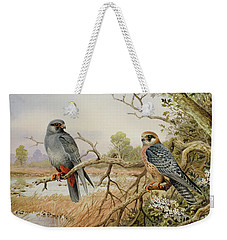 Red-footed Falcons Weekender Tote Bag by Carl Donner