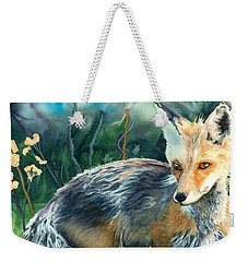 Weekender Tote Bag featuring the painting Red Fox- Caught In The Moment by Barbara Jewell