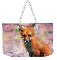 Weekender Tote Bag featuring the digital art Red Fox  by Claire Bull