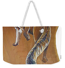Red Fox On Cherry Slab Weekender Tote Bag by Jacque Hudson