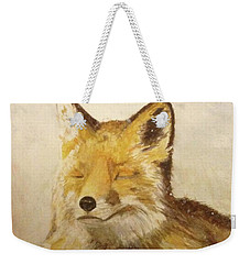 Red Fox Rest Weekender Tote Bag by Annie Poitras