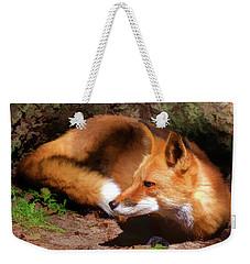Red Fox Resting Square Weekender Tote Bag