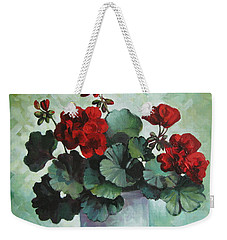 Weekender Tote Bag featuring the painting Red Geranium by Elena Oleniuc