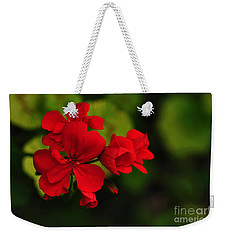 Red Geranium Weekender Tote Bag by Kaye Menner