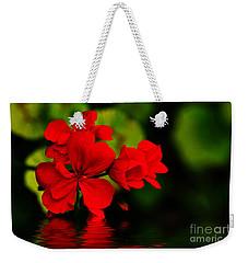 Red Geranium On Water Weekender Tote Bag