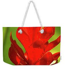 Red Ginger Bud After Rainfall Weekender Tote Bag by Michael Courtney