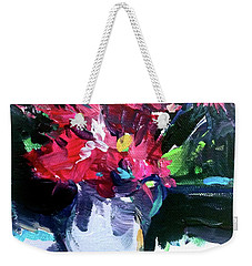Weekender Tote Bag featuring the painting Red Glow by John Jr Gholson