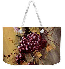 Red Grapes And Flowers Weekender Tote Bag