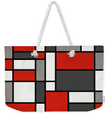 Weekender Tote Bag featuring the digital art Red Grey Black Mondrian Inspired by Michael Tompsett