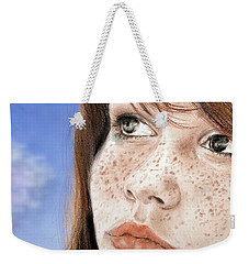 Red Hair And Freckled Beauty Version II Weekender Tote Bag by Jim Fitzpatrick