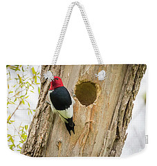 Weekender Tote Bag featuring the photograph Red-headed Woodpecker At Home by Ricky L Jones