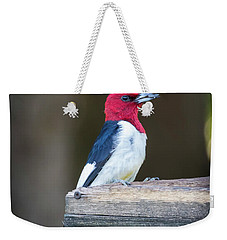 Weekender Tote Bag featuring the photograph Red-headed Woodpecker With Seed  by Ricky L Jones