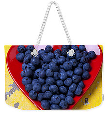 Red Heart Plate With Blueberries Weekender Tote Bag by Garry Gay