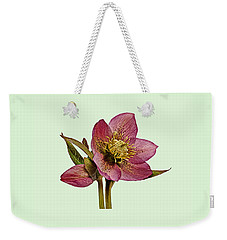 Red Hellebore Green Background Weekender Tote Bag