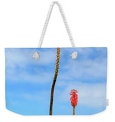 Weekender Tote Bag featuring the photograph Red Hot Pokers by James Eddy