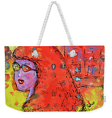 Weekender Tote Bag featuring the painting Red Hot Summer Girl by Claire Bull