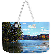 Weekender Tote Bag featuring the photograph Red House Lake Allegany State Park In Autumn Expressionistic Effect by Rose Santuci-Sofranko