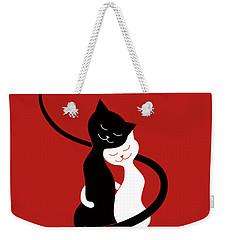 Red Hugging Love Cats Weekender Tote Bag