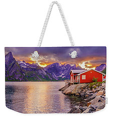 Red Hut In A Midnight Sun Weekender Tote Bag