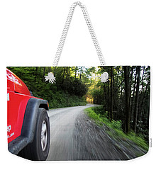 Red Jeep On Mountain Road Weekender Tote Bag