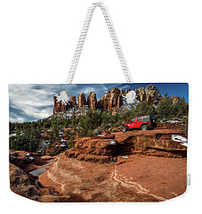 Red Jeep On The Rocks Weekender Tote Bag