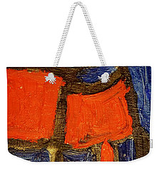 Weekender Tote Bag featuring the painting Red Lamps by Shea Holliman