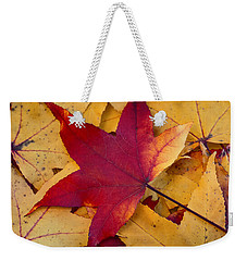 Weekender Tote Bag featuring the photograph Red Leaf by Chevy Fleet