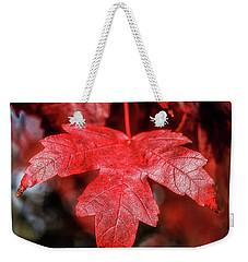 Red Leaf Weekender Tote Bag by Robert Bales