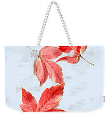 Red Leaves On Blue Texture Weekender Tote Bag