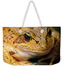 Weekender Tote Bag featuring the photograph Red Leg Frog by Jean Noren