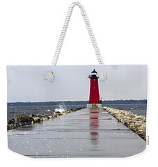 Weekender Tote Bag featuring the photograph Red Lighthouse by Tara Lynn