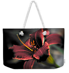 Weekender Tote Bag featuring the photograph Red Lilly2 by Michaela Preston