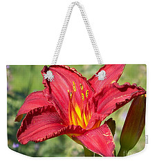 Weekender Tote Bag featuring the photograph Red Flower by Eunice Miller