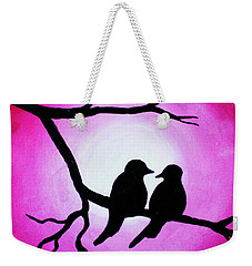 Red Love Birds Silhouette Weekender Tote Bag