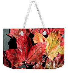 Weekender Tote Bag featuring the photograph Red Maple Leaves Digital Painting by Barbara Griffin