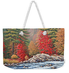 Red Maples, White Water Weekender Tote Bag