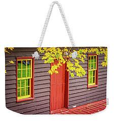 Red Mill Door In Fall Weekender Tote Bag