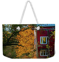 Red Mill In Autumn Weekender Tote Bag by Trey Foerster