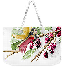 Red Mulberry Tree Fairy With Berries Weekender Tote Bag