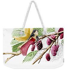 Red Mulberry Tree Fairy With Berries Weekender Tote Bag